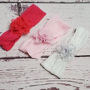 Baby Tulle Floral Headband Bundle White Pink